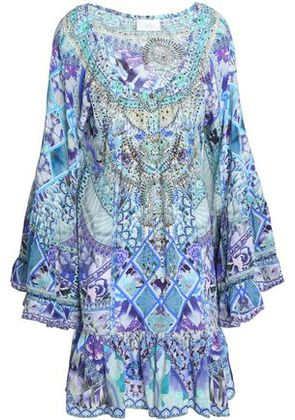 Camilla Woman Off-the-shoulder Crystal-embellished Printed Silk Crepe De Chine Mini Dress Light Green Size M