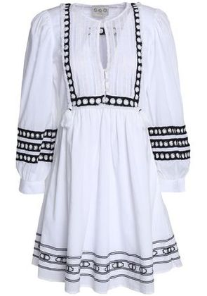 Sea Woman Tasseled Lace-trimmed Embroidered Cotton-gauze Dress White Size 8