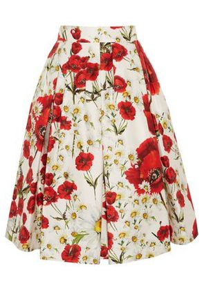Dolce & Gabbana Woman Pleated Floral-print Cotton And Silk-blend Skirt Red Size 38