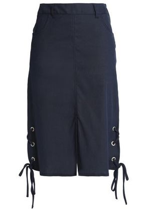 See By Chloé Woman Lace-up Linen-blend Skirt Navy Size 34