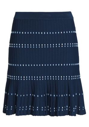 Sandro Woman Fluted Ribbed-knit Mini Skirt Navy Size 2