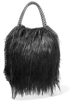 Stella Mccartney Woman Fringed Chain-trimmed Faux-fur Tote Black Size -
