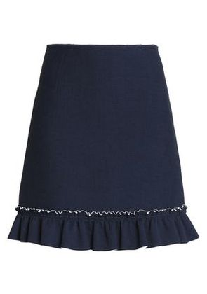 Sandro Woman Ruffled Pleated Crepe De Chine Mini Skirt Navy Size 3