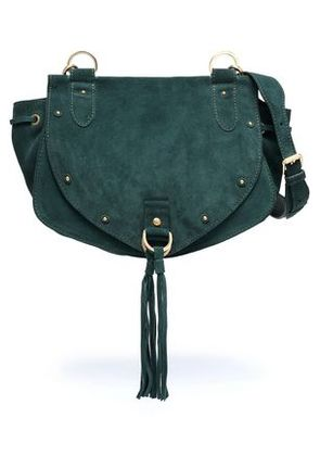 See By Chloé Woman Collins Studded Suede Shoulder Bag Emerald Size -