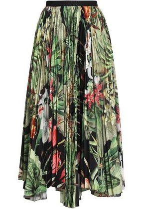 Adam Lippes Woman Pleated Floral-print Woven Midi Skirt Black Size 2