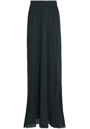 Amanda Wakeley Woman Smocked Gathered Silk-tulle Maxi Skirt Forest Green Size 12