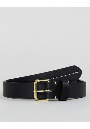 ASOS Smart Slim Faux Leather Belt In Black With Contrast Stitch Detail - Black