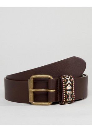 ASOS DESIGN festival faux leather wide belt in brown with aztec embroidered keeper - Brown