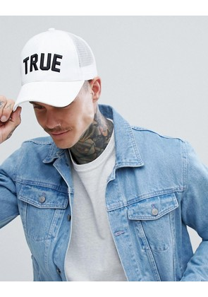ASOS DESIGN trucker cap in white with 'true' embroidery - White