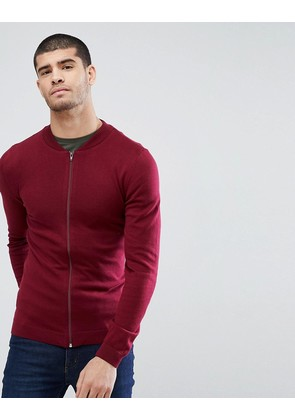 ASOS Knitted Muscle Fit Bomber Jacket In Burgundy - Burgundy