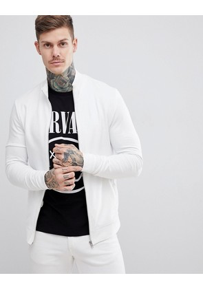 ASOS DESIGN muscle jersey track jacket in white - Off white