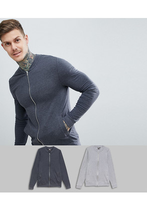 ASOS DESIGN muscle jersey bomber jacket 2 pack charcoal/grey marl - Charcoal/ grey marl