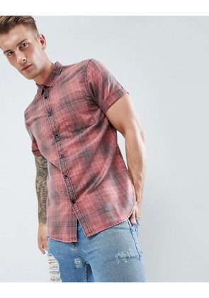 New Look Regular Fit Shirt In Washed Red Check - Red pattern