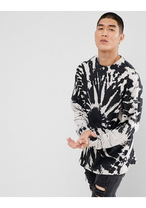ASOS Oversized Long Sleeve T-Shirt With Spiral Tie Dye - Black