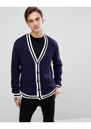 ASOS Ribbed Cardigan With Tipping In Navy - Navy