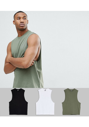 ASOS DESIGN vest with dropped armhole 3 pack SAVE - Blk/wht/ gea grn