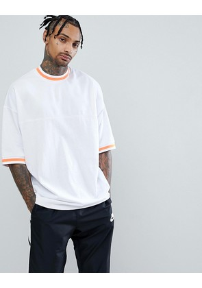 ASOS Oversized T-Shirt In Polytricot With Neon Tipping In White - White