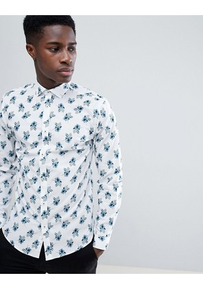 Jack & Jones Premium Slim Fit Smart Shirt With All Over Print - White