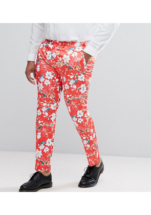 ASOS PLUS Super Skinny Suit Trousers With Red Peacock Print - Red