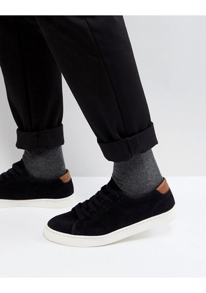 ASOS Lace Up Trainers In Black Real Suede - Black