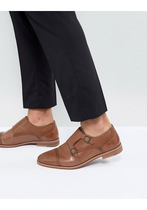 ASOS Monk Shoes In Tan Leather With Natural Sole - Tan