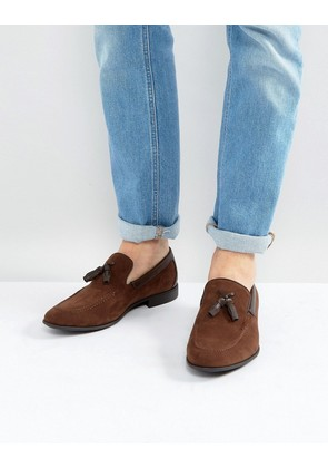 ASOS Loafers In Brown Faux Suede With Tassel - Brown