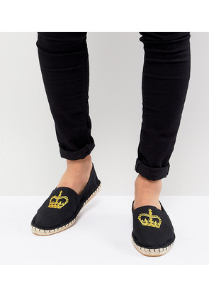 ASOS Wide Fit Espadrilles In Black Canvas With Crown Embroidery - Black