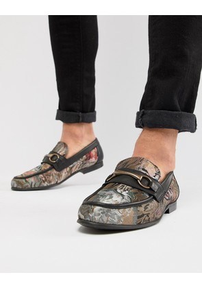 ASOS DESIGN Loafers In Floral Print With Snaffle - Black