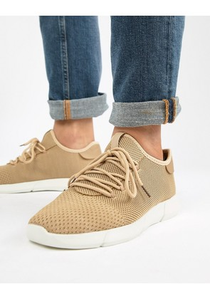 New Look Knitted Detail Trainers In Tan - Stone