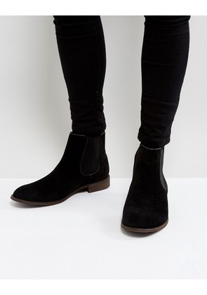 New Look Classic Faux Suede Chelsea Boot In Black - Black