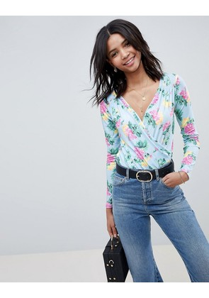 ASOS DESIGN wrap front long sleeve body in blue floral print - Multi