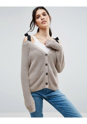 ASOS Cardigan in Boxy Shape with Cold Shoulder Detail - Oatmeal