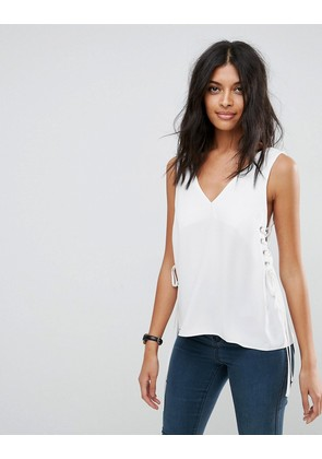 ASOS Vest with Lace Up Sides - Ivory