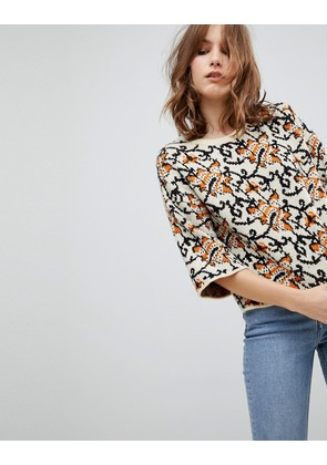 ASOS Jumper with Crop in Tapestry Pattern - Multi