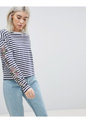 ASOS Striped Long Sleeve T-Shirt with Rose Embroidery - White/navy