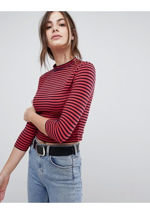 ASOS Stripe High Neck Crop Top With 3/4 Sleeve - Navy / red