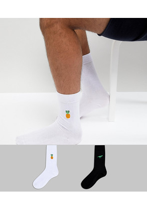 ASOS Socks With Dinosaur & Pineapple 2 Pack - Multi
