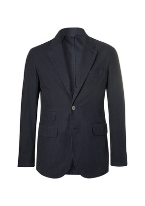 Kennedy Navy Slim-fit Unstructured Cotton Blazer