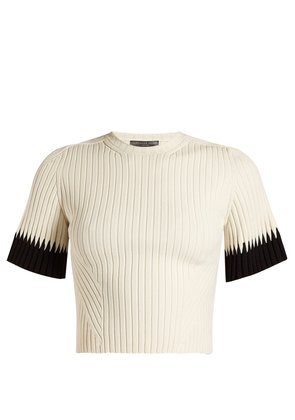 Contrast-cuff ribbed cropped top