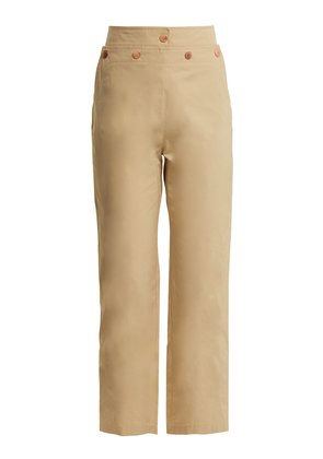 High-rise lace-up cotton-blend trousers