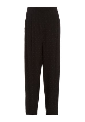 Fil coupé embroidered crepe trousers