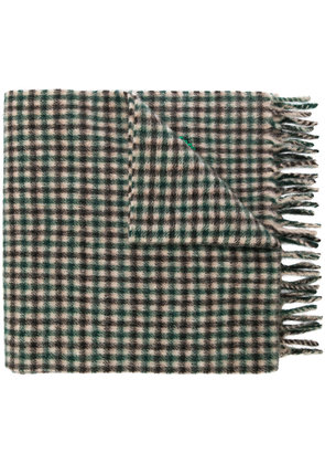 Gucci embroidered checked scarf - Green