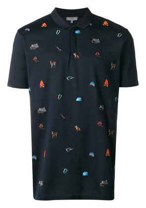 Lanvin camping embroidered polo shirt - Blue