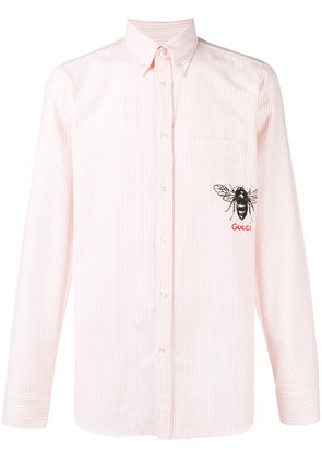 Gucci striped bee embroidered buttondown shirt - Pink & Purple