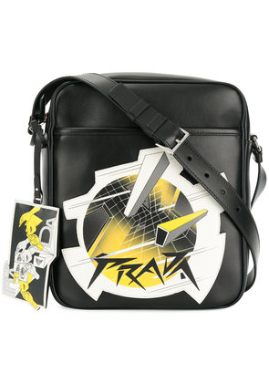 Prada patch embroidered shoulder bag - Black