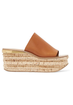 Chloé - Camille Leather Wedge Sandals - Tan