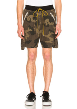 Rhude Cargo Shorts in Abstract,Green