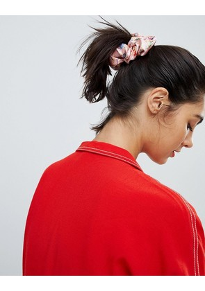 ASOS DESIGN silk scrunchie with embroidery - Multi