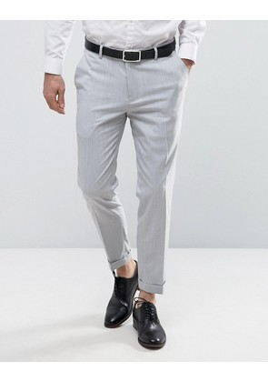 ASOS Skinny Trouser In Pale Grey With Turn Up - Pale grey