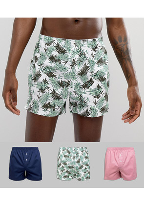 ASOS DESIGN Woven Boxers With Leaf Print 3 Pack - Multi